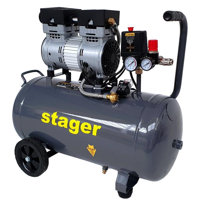 Stager HM0.75JW/50 compresor aer, 50L, 8bar, 165L/min, monofazat, angrenare directa, silentios [0]