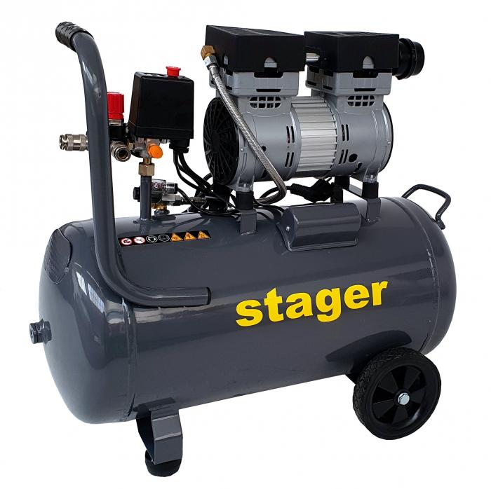 Stager HM0.75JW/50 compresor aer, 50L, 8bar, 165L/min, monofazat, angrenare directa, silentios [1]