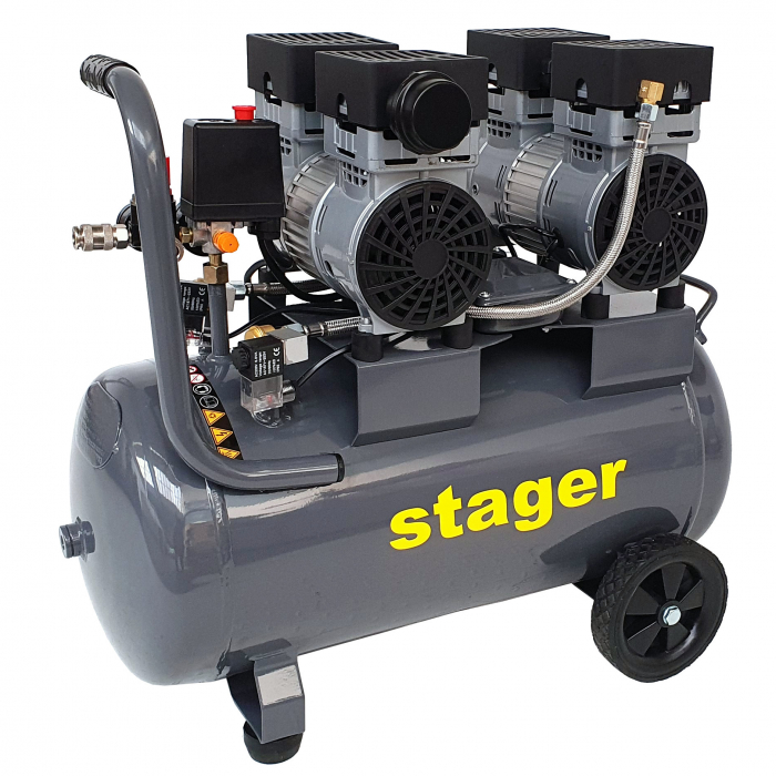 Stager HM0.75x2JW/50 compresor aer, 50L, 8bar, 330L/min, monofazat, angrenare directa, silentios [1]
