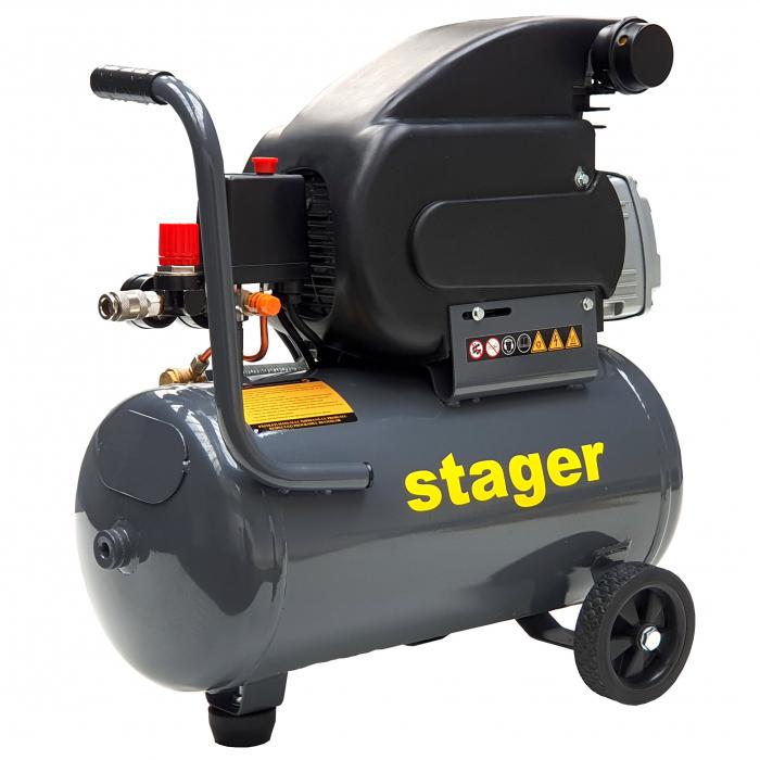 Stager HM2024F compresor aer, 24L, 8bar, 200L/min, monofazat, angrenare directa [1]