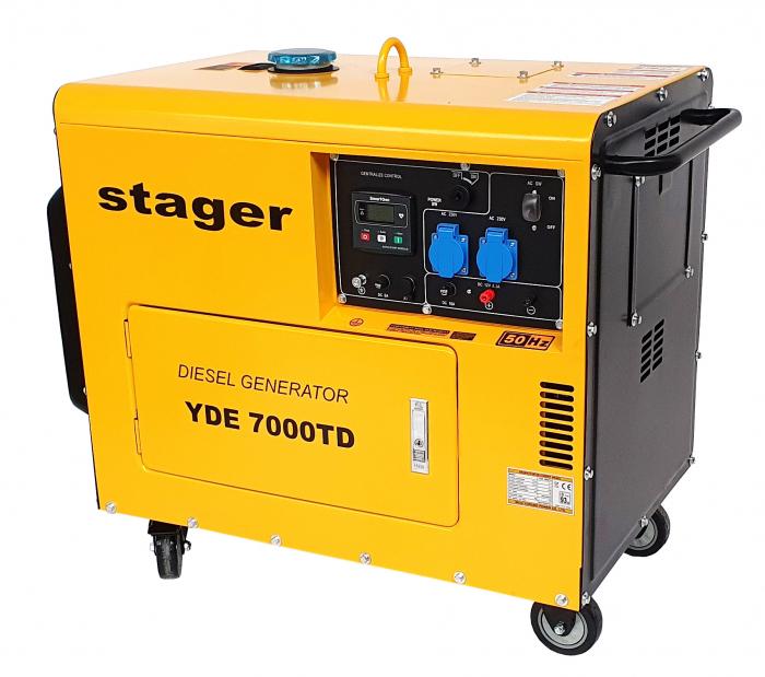 Stager YDE7000TD Generator insonorizat diesel monofazat 4.2kVA, 18A, 3000rpm + automatizare YA40063 inclusa 0