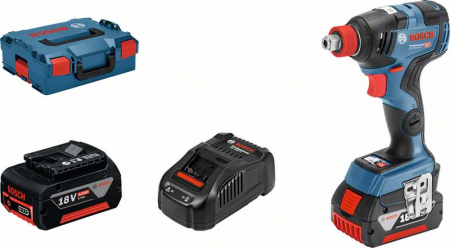 Bosch GDX 18V-200C Masina de infiletat si desfiletat cu impact cu acumulator + 2 x Acumulatori GBA 18V 5.0Ah + Incarcator rapid GAL 1880 CV + L-Boxx1