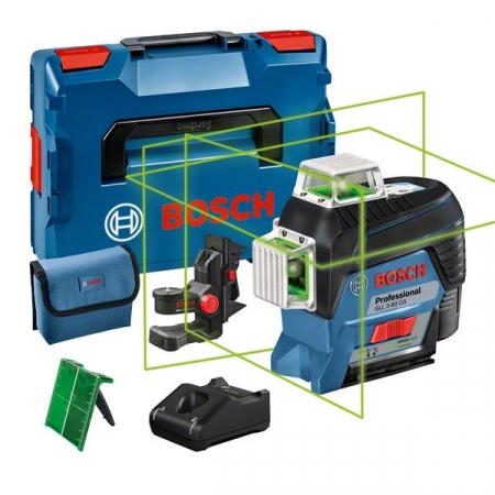 Bosch GLL 3-80 CG + BM1 Nivela laser cu linii, 30m, receptor 120m, precizie 0.2mm/m + 1 x Acumulator GBA 12V 2.0Ah + Incarcator rapid GAL 1230 CV + L-Boxx 1360