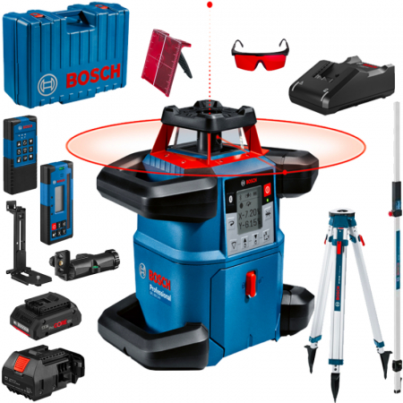 Bosch GRL 600 CHV + BT 170 HD + GR 240 Nivela laser rotativa, 60m, receptor 600m, precizie 0.05mm/m orizontal, 0.1mm/m vertical0