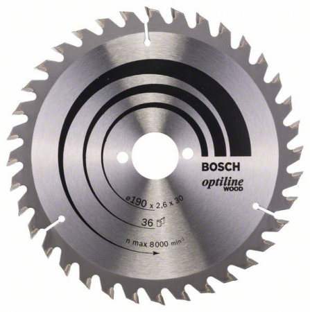 Panza de ferastrau circular Optiline Wood 190x30x2,6mm, 36 [1]