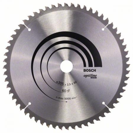 Panza de ferastrau circular Optiline Wood 305x30x2,5mm, 60 [1]