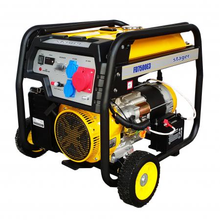 Stager FD 7500E3 generator open-frame, 6kW, trifazat, benzina, pornire electrica [1]