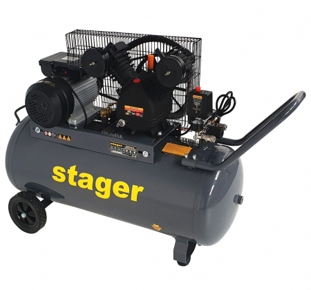 Stager HMV0.25/100 compresor aer, 100L, 8bar, 250L/min, monofazat, angrenare curea [2]
