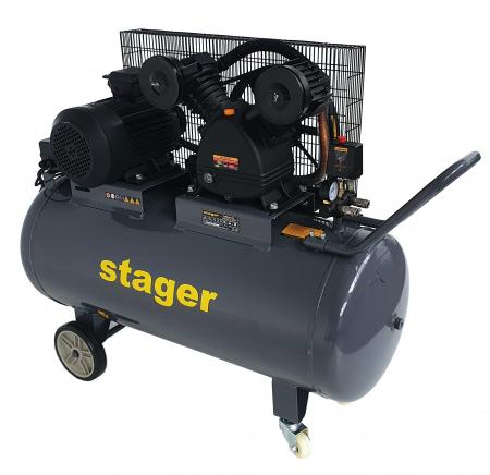 Stager HMV0.6/200 compresor aer, 200L, 8bar, 600L/min, trifazat, angrenare curea [2]