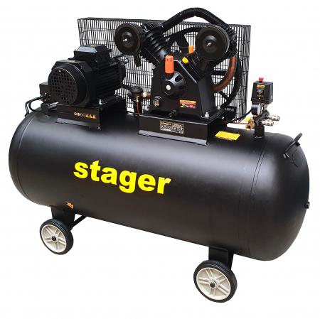 Stager HMV0.6/370-10 compresor aer, 370L, 10bar, 600L/min, trifazat, angrenare curea [2]