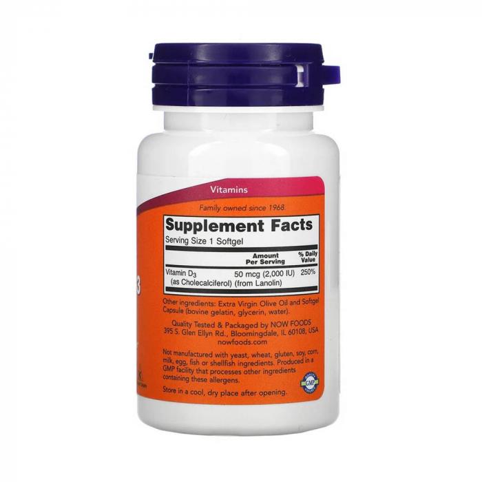 Vitamina D3, 2000 IU, Now Foods, 120 softgels [2]