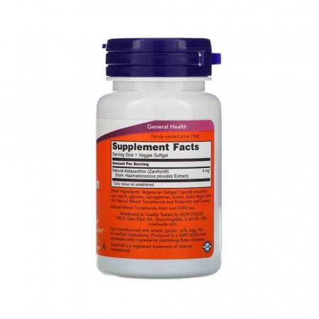 Astaxanthin, (Antioxidant) , 4 mg,Astaxantina Now Foods, 60 softgels [1]