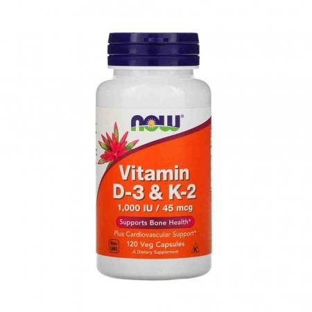 Vitamina D-3 & K-2. Now Foods, 120 capsule