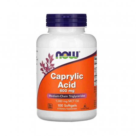 Caprylic Acid, 600mg (Acid Caprilic), Now Foods, 100 softgels