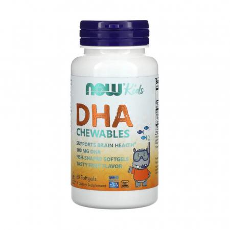 DHA Kids (Acizi Grasi Esentiali pentru Copii), Now Foods, 60 gelule masticabile