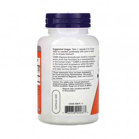 Now Foods, GABA, 750 mg, 100 Veg Capsules [2]