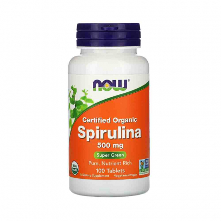 Spirulina Certificata Organic, 500 mg, Now Foods, 100 tablete
