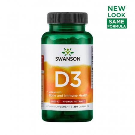 Vitamina D-3 2000 IU, Swanson, 250 capsule SW1210, 2000 IU, 250 Caps, 10.2022, T3