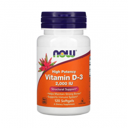 Vitamina D3, 2000 IU, Now Foods, 120 softgels, Fara aroma, 2000 IU, 120 Softgels, 03.2023, O5