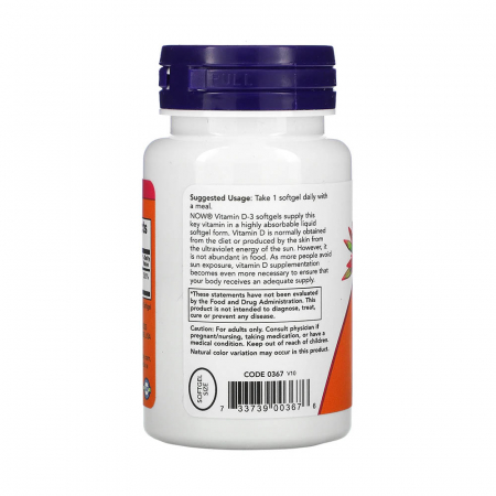 Vitamina D3, 2000 IU, Now Foods, 120 softgels [1]