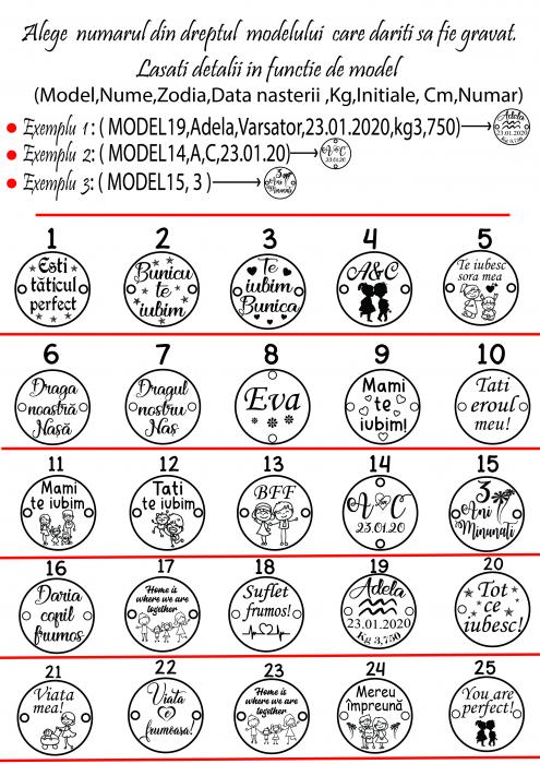 Bratara personalizata cu snur reglabil impletit in doua culori banut de 12 mm placat cu aur gravat cu nume si simbol [2]