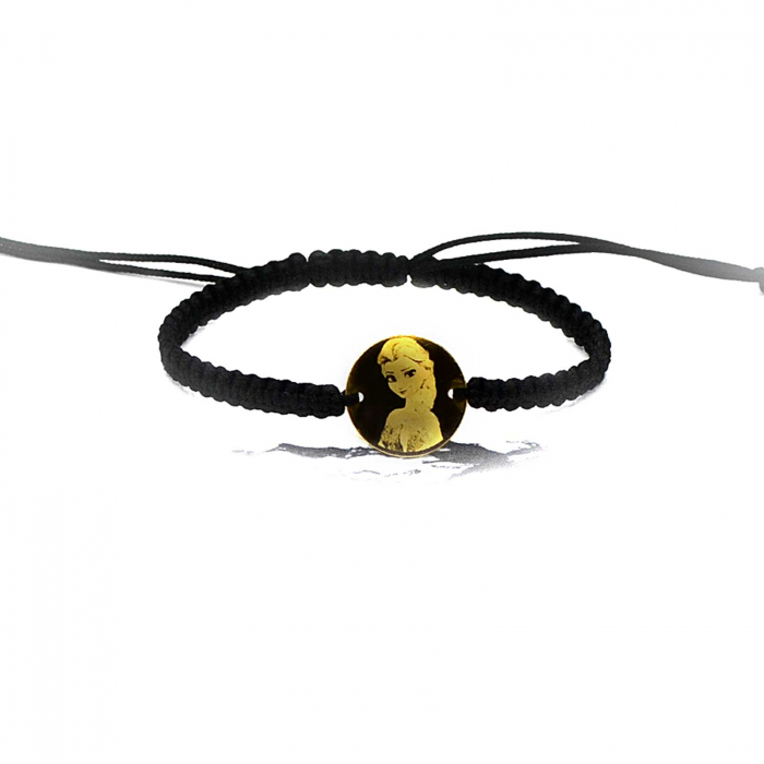 Bratara personalizata cu snur impletit si banut de 16,5 mm din argint placat cu aur,gravata cu personajul animat preferat [1]