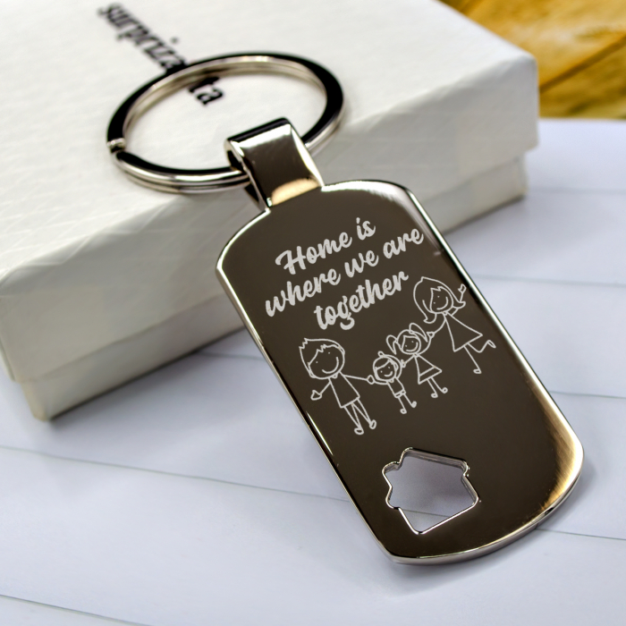 """Breloc motiv casa personalizat """"Home is where we are together"""" [0]"""