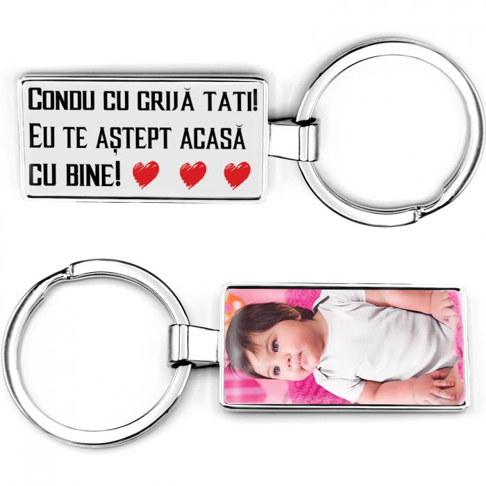 """Breloc personalizat cu poza si """"Condu cu grija Tati"""" [2]"""