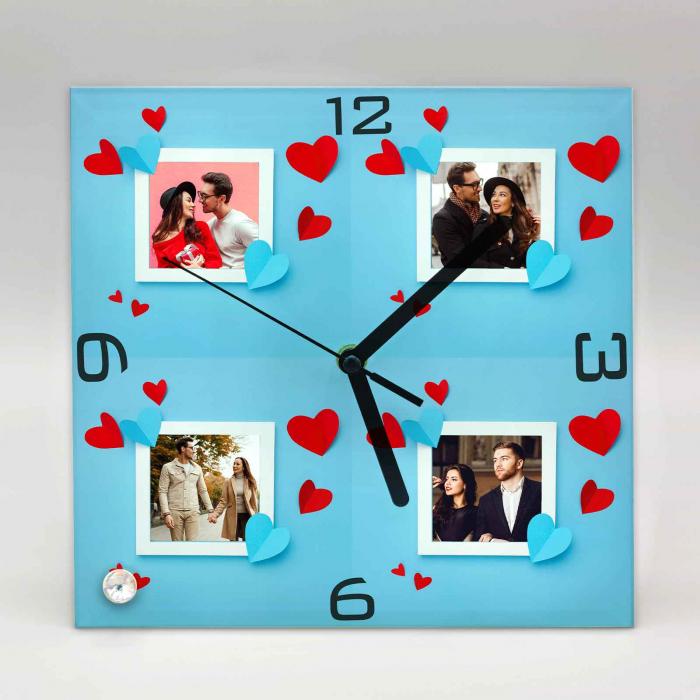 Ceas personalizat cu 4 poze si inimioare [1]