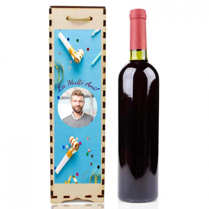 Cutie de vin personalizata cu model ANIVERSARE cu o poza [0]
