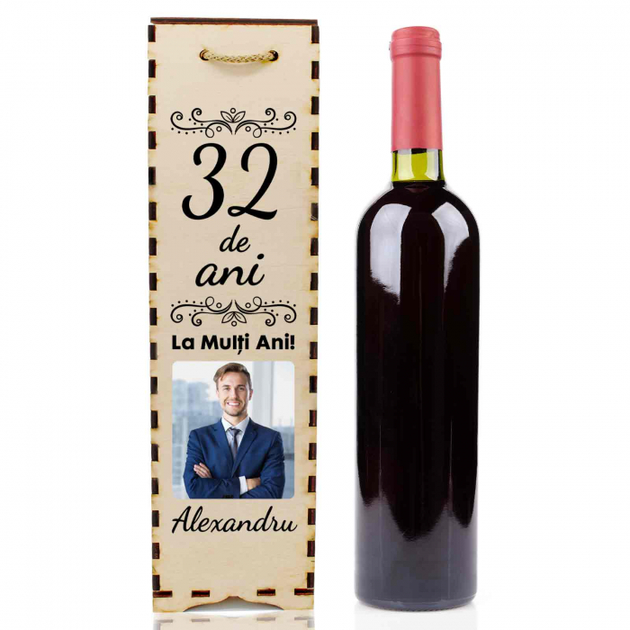 Cutie de vin personalizata cu model ANIVERSARE cu o poza si text [1]