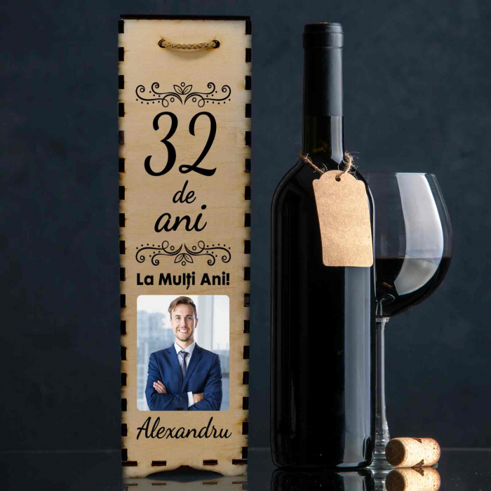 Cutie de vin personalizata cu model ANIVERSARE cu o poza si text [0]
