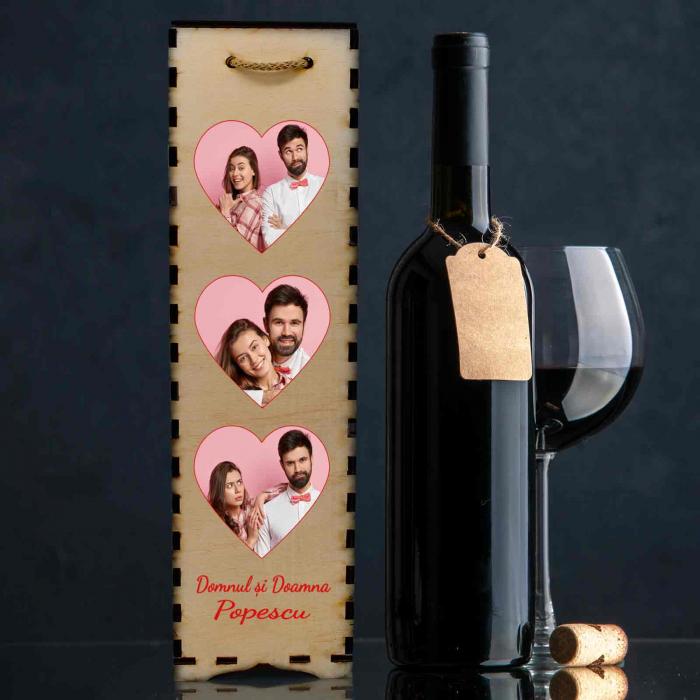 Cutie de vin personalizata cu model INIMA si 3 poze [1]