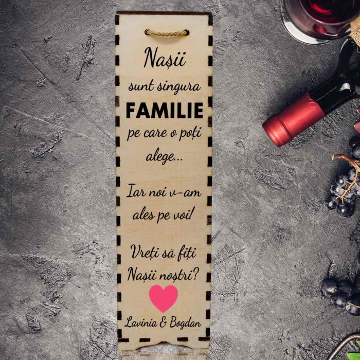 Cutie de vin personalizata cu model NASI cu text [1]