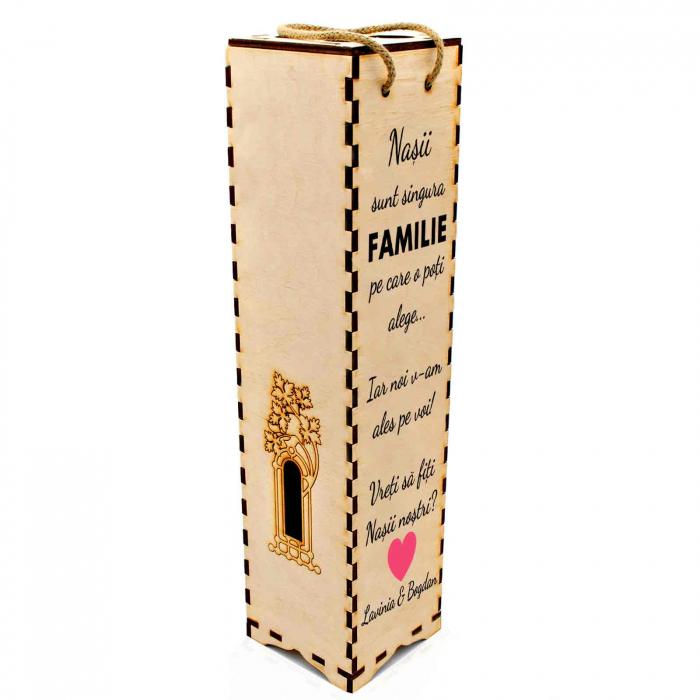 Cutie de vin personalizata cu model NASI cu text [2]