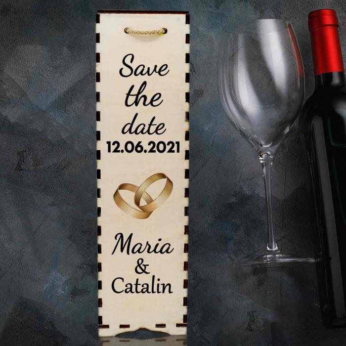 Cutie de vin personalizata cu model SAVE THE DATE cu o poza si text [1]