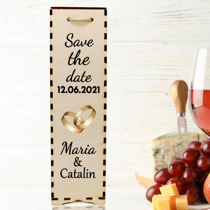 Cutie de vin personalizata cu model SAVE THE DATE cu o poza si text [0]