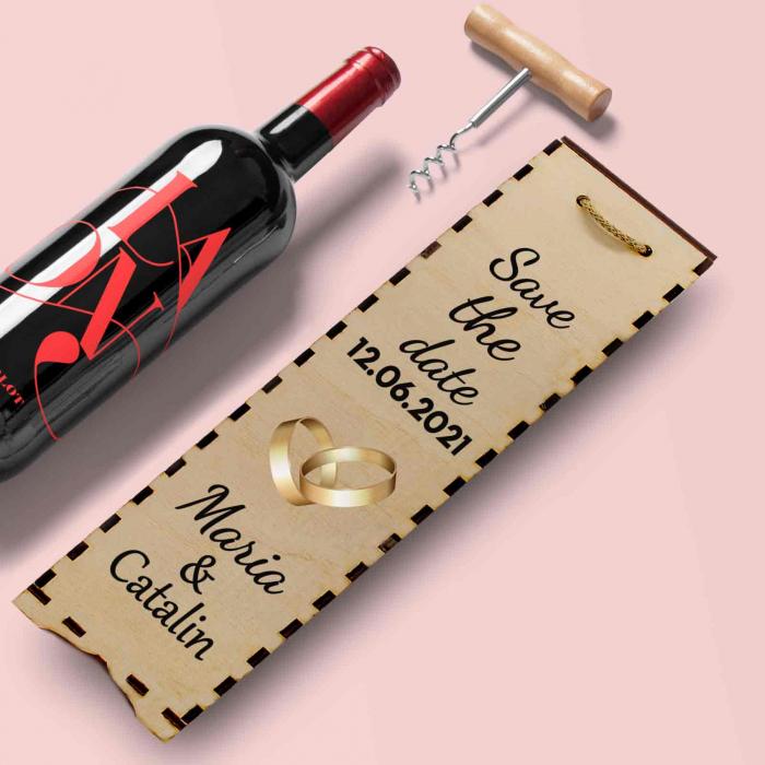 Cutie de vin personalizata cu model SAVE THE DATE cu o poza si text [2]