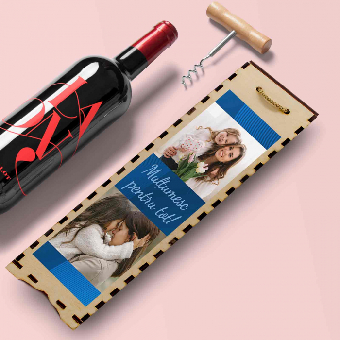 Cutie de vin personalizata cu model si 2 poze [0]