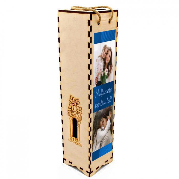 Cutie de vin personalizata cu model si 2 poze [2]