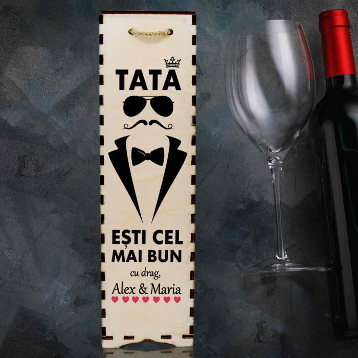 Cutie de vin personalizata cu model TATA si text [0]