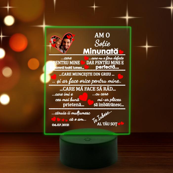 """Lampa 3D luminoasa personalizata """"Am o sotie minunata"""" [8]"""