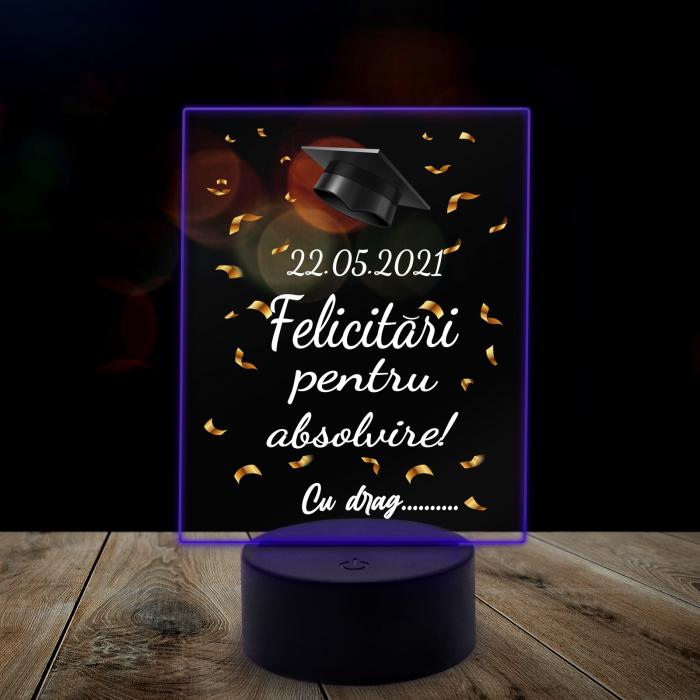"Lampa 3D luminoasa personalizata ""Felicitari pentru absolvire"" [6]"