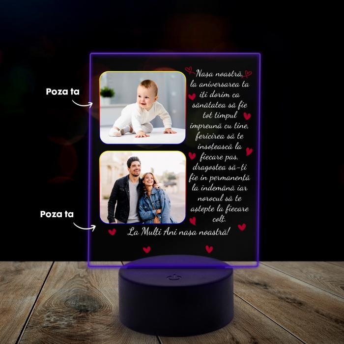 Lampa 3D luminoasa personalizata cu 2 poze si text [7]