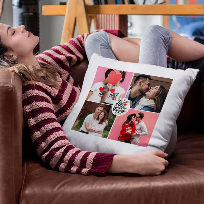 Perna personalizata cu patru poze si model love you forever [0]