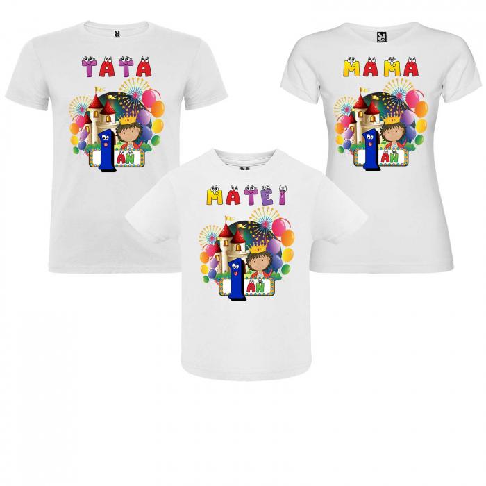 """Set de 3 tricouri,mama,tata si copil personalizate cu nume si varsta """"Print"""" [0]"""