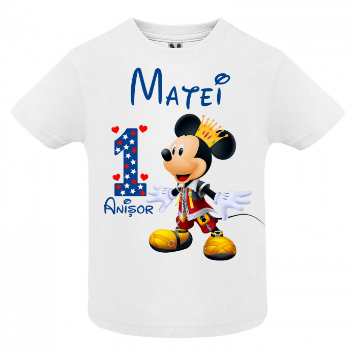 "Set 3 tricouri mama, tata si copil personalizate cu nume si varsta ""print Mickey"" [2]"
