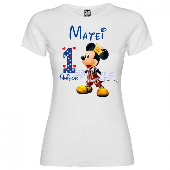 "Set 3 tricouri mama, tata si copil personalizate cu nume si varsta ""print Mickey"" [3]"