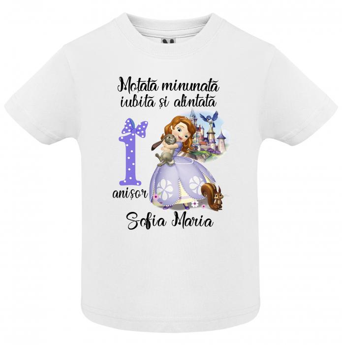 "Set de 3 tricouri aniversare pentru parinti si copil, personalizate cu nume,varsta si mesaj""Motata minunata iubita si alintata,printesa"" [1]"