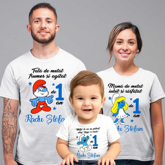 Set de 5 tricouri aniversare pentru nasi,parinti si copil, personalizate cu nume,varsta si mesaj,strumfi [1]